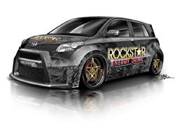 Artist rendering of Street Warrior Cartel Scion xD on display in the AEM booth at the SEMA Show in Las Vegas, Nevada