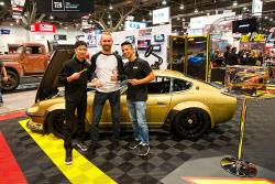 Super Street Award for Chris Forsberg Z in the AEM booth at the 2016 SEMA show