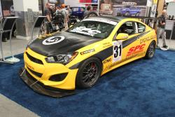 Front three quarter view of hyundai genesis coupe racecar