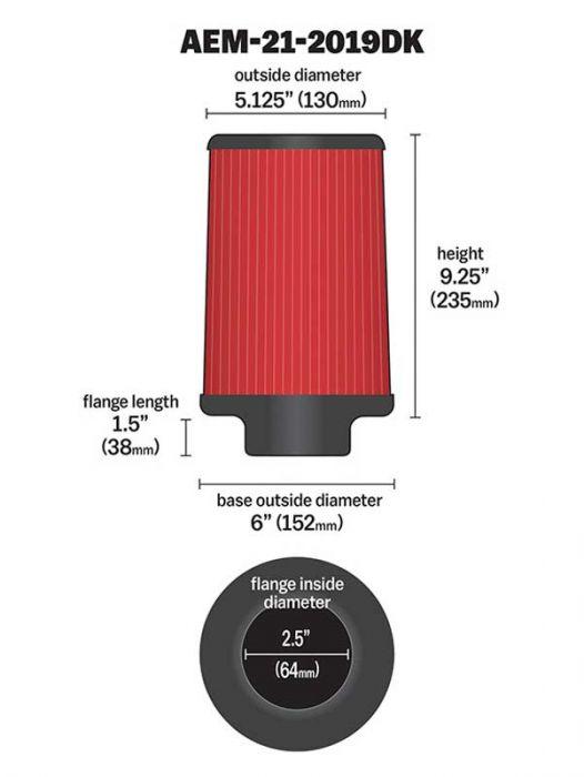 21-2019DK AEM DryFlow Air Filter
