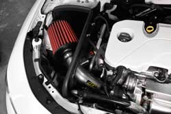 With the hood raised, view of the intake kit is unobstructed for added style