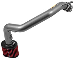 The AEM Cold Air Intake system consists of a Dryflow filter and madrel-bent aluminum intake pipe