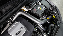 The installation of the AEM 21-817C cold air intake kit adds a professional touch under the hood