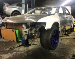 2004 Mitsubishi EVO VIII being rebuilt by Narvaez Racing for the 2015 Pikes Peak Hill Climb