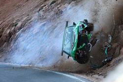 Real-time shot of Roy Narvaez crashing at the 2016 Pikes Peak Hill Climb