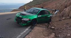 The Mitsubishi EVO driven by Roy Narvaez nearly went off the mountain at the 2016 Pikes Peak Race
