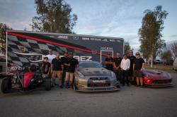 Narvaez Racing Team posing with their Ariel Atom, R35 Nissan GT-R, and Dodge Viper ACR