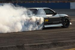 Dylan Hughes pilots his V8-powered Nissan S13 drift car at Evergreen Speedway in Seattle, WA